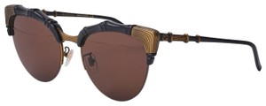 Gucci 0661 Oversize Bamboo Style Black Brown Sunglasses GG0661S Unisex