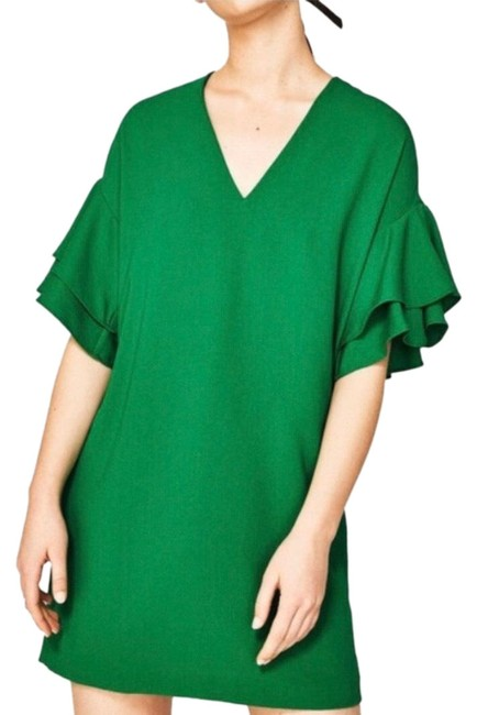 Item - Green W W/ Ruffle Sleeves Small Short Casual Dress Size 4 (S)