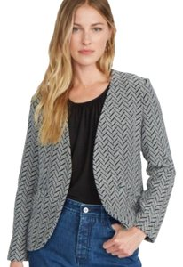 Amour Vert Herringbone Textured Knit Black White Blazer