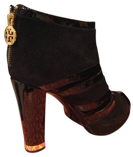 Tory Burch Suade Patent Leather Gold Sandal Dressy Fancy Ie Black Boots