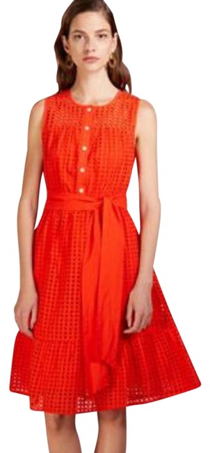 Item - Orange All Over Eyelet Midi Summer J1608 Mid-length Short Casual Dress Size 2 (XS)