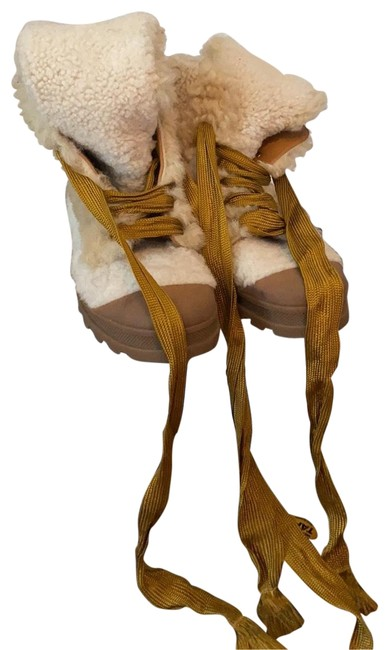 Item - Cream Parker Shearling Fur Lace-up Ankle Boots/Booties Size EU 38 (Approx. US 8) Regular (M, B)