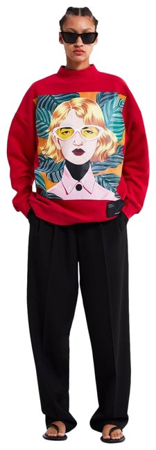 Zara Red Multi Bijou Karman Woman In Art Collection 2019 Sweatshirt/Hoodie Size 6 (S) Zara Red Multi Bijou Karman Woman In Art Collection 2019 Sweatshirt/Hoodie Size 6 (S) Image 1