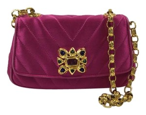 Chanel Gripoix Vintage Fuchsia Quilted Shoulder Bag
