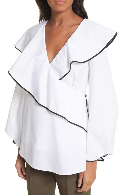 Item - White Fluted-lapel Blouse Size 6 (S)