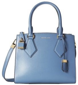 Michael Kors Blue Leather Satchel in Cornflower