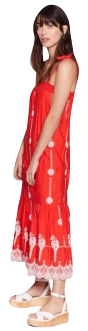 Item - Red Orange Parrot Embroidered Casual Maxi Dress Size 0 (XS)