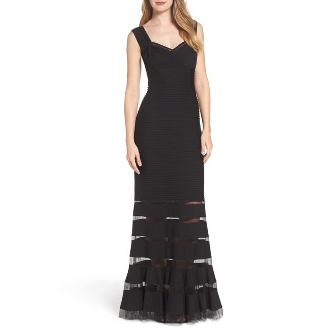 Item - Black Mesh Inset Gown Long Night Out Dress Size 8 (M)