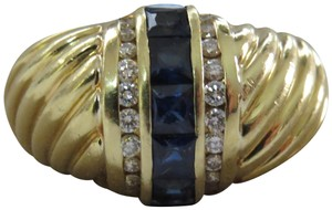 David Yurman 18k Sapphire and Diamond Sculpted Dome