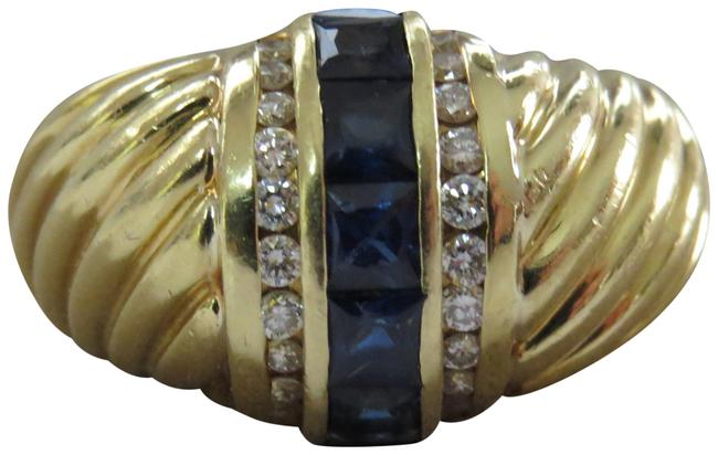 Item - Blue 18k Sapphire and Diamond Sculpted Dome Ring