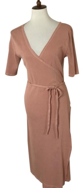Item - Cream Tan Wrap Ribbed Maternity Dress Size 8 (M, 29)