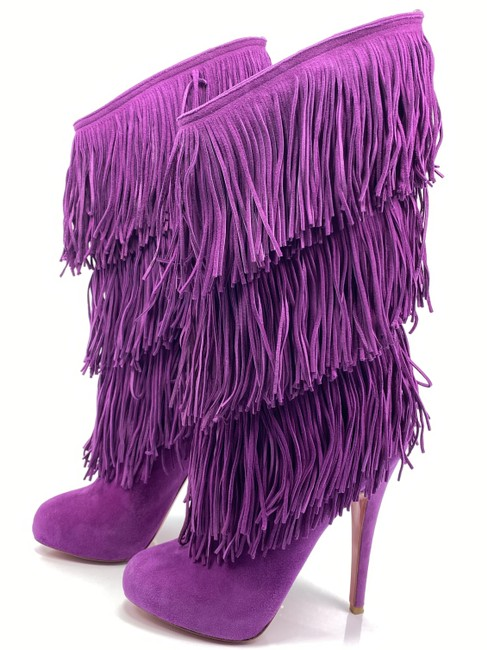 Item - Purple For Ever Tina 140 Fringe Suede Boots/Booties Size EU 36.5 (Approx. US 6.5) Regular (M, B)
