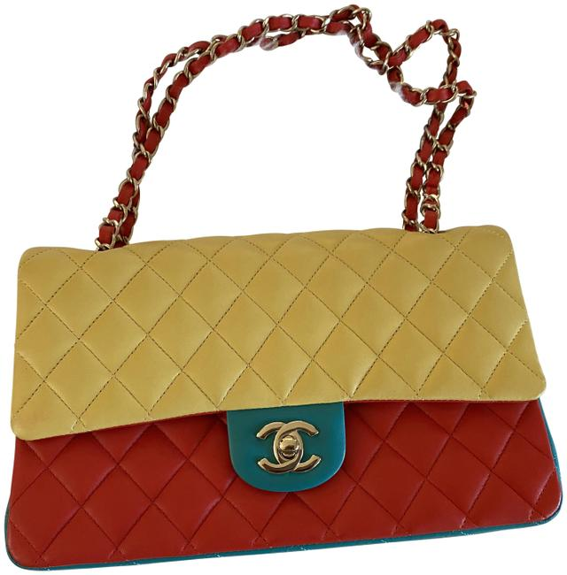 Item - Double Flap Quilted Tri-color Medium Jaune Rouge Red Turquoise and Yellow Lambskin Leather Cross Body Bag