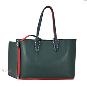 Christian Louboutin Leather Spike Tote in Vosges (Dark Green)