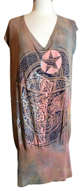 Item - Peach and Olive Taupe Pink Hand Painted Dress Tunic Size 6 (S)