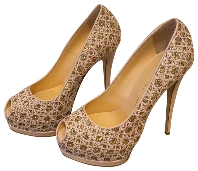 Item - Pink/Gold Peep Toe Platforms Size EU 38.5 (Approx. US 8.5) Narrow (Aa, N)