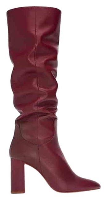 Item - Burgundy High Heeled Leather Boots/Booties Size US 10 Regular (M, B)