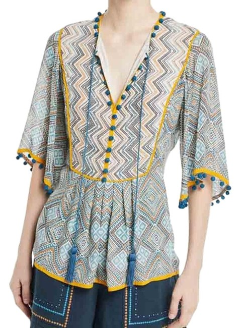 Item - Yellow Blue Flutter Sleeve Lace-up Boho Peasant Tunic Size 12 (L)