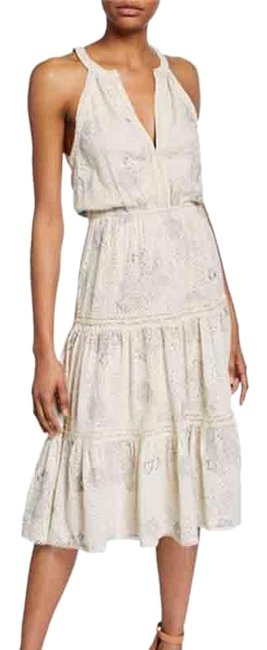 Item - White Silver Love Sam Lucy Eyelet Embroidered Midi Mid-length Cocktail Dress Size 12 (L)