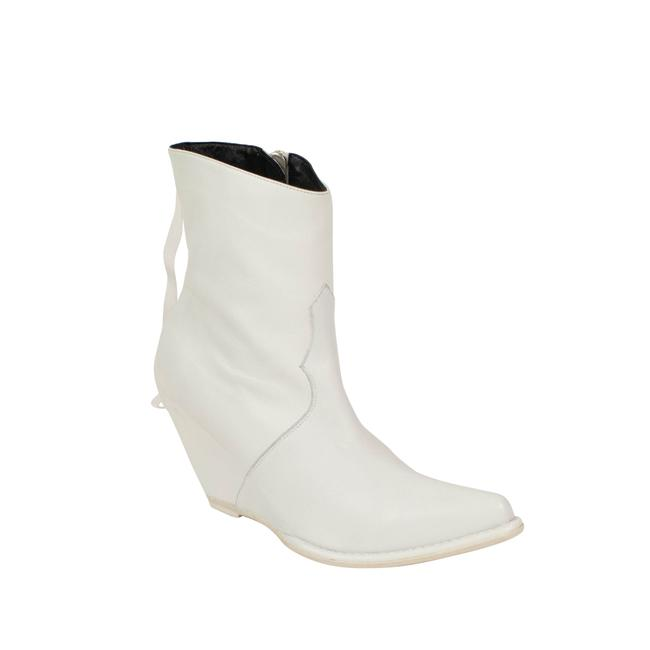 Item - White Leather Western Low Boots/Booties Size EU 37 (Approx. US 7) Regular (M, B)