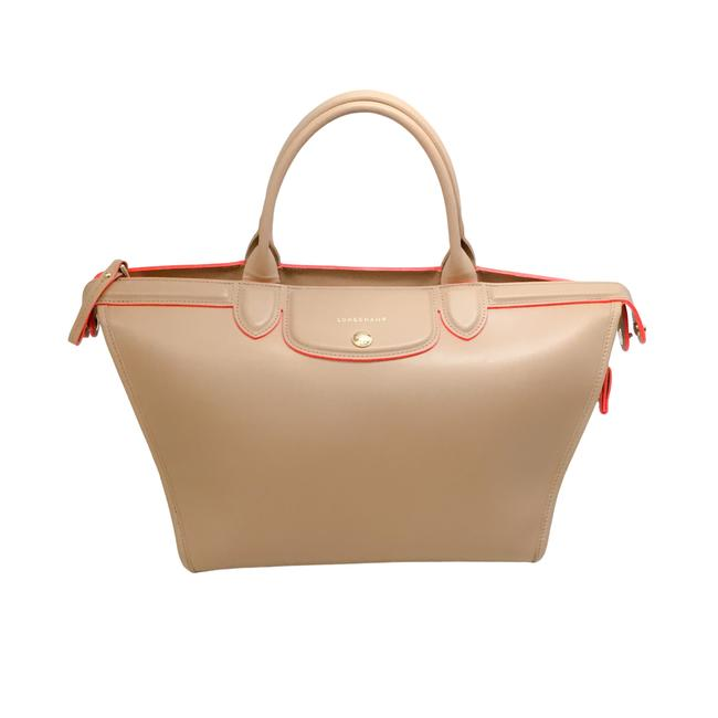 Item - Tote Beige with Neon Orange Leather Satchel
