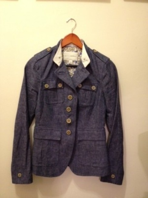 Preload https://item4.tradesy.com/images/banana-republic-grey-blue-demin-like-fabric-neru-collar-denim-jacket-with-front-pockets-blazer-size--27528-0-0.jpg?width=400&height=650