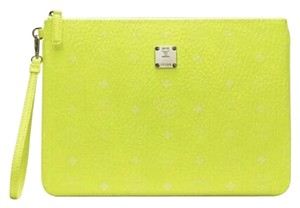MCM Unisex Coated Canvas Visetos Pouch Neon Yellow Clutch
