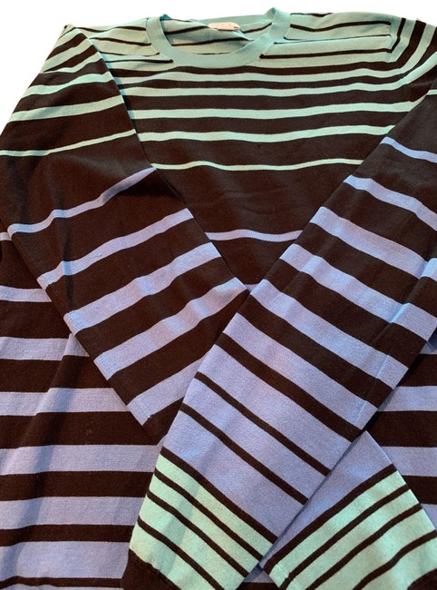 Item - Black Ground with Turquoise and Periwinkle Blue Stripes. Jewel Neck Long Sleeve Tee Shirt Size 14 (L)