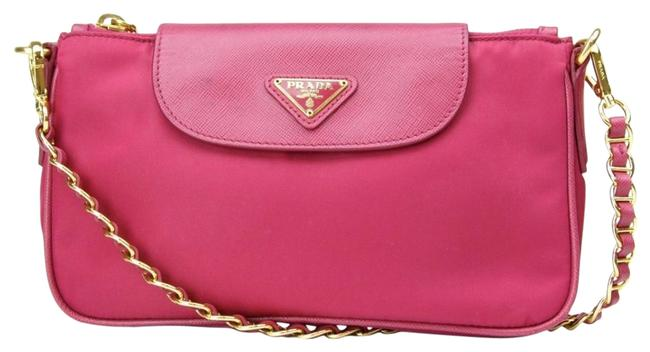 Prada Tessuto Saffiano Fuxia Gold Hardware 1bh085 Pink Nylon Cross Body Bag Prada Tessuto Saffiano Fuxia Gold Hardware 1bh085 Pink Nylon Cross Body Bag Image 1