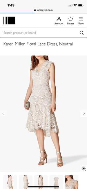 Item - Neutral Cream Fit and Flair Lace Item #de227 Mid-length Cocktail Dress Size 6 (S)