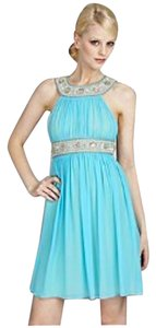 Aidan Mattox Prom Prom Blue Aquamarine Silver Silk Wedding Guest Bridesmaid Night Out Dress
