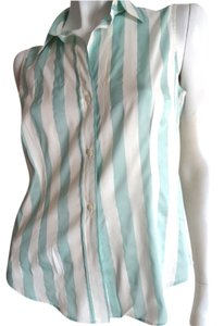 Burberry Lightweight Top Aqua and White Stripe