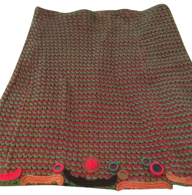 Item - Red/Green with Red Green Taupe and Black Trim At Hem. Na Skirt Size 12 (L, 32, 33)