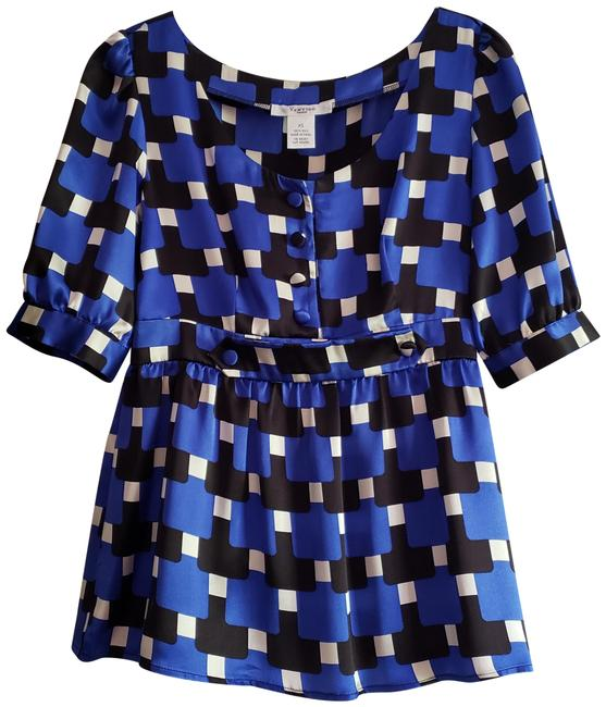 Item - Pure Silk Royal Blue Black & White with Covered Buttons Nicely Detailed Blouse Size 2 (XS)
