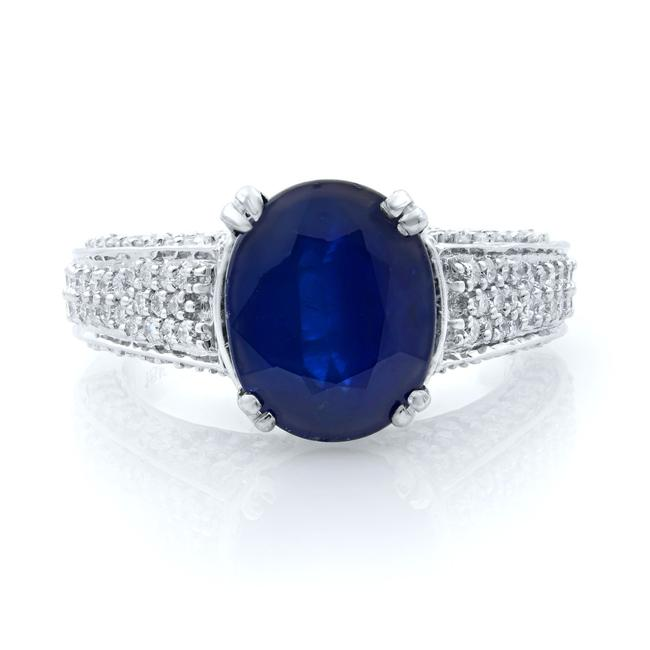 Item - 18k White Gold Oval Blue Sapphire and Diamond Engagement Size 6 Ring