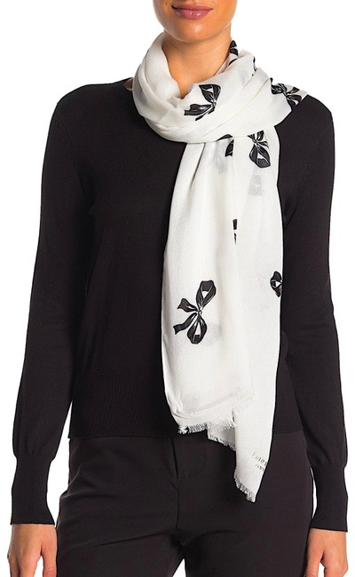 Item - White/Black with Tag Bow Print Oblong Scarf/Wrap