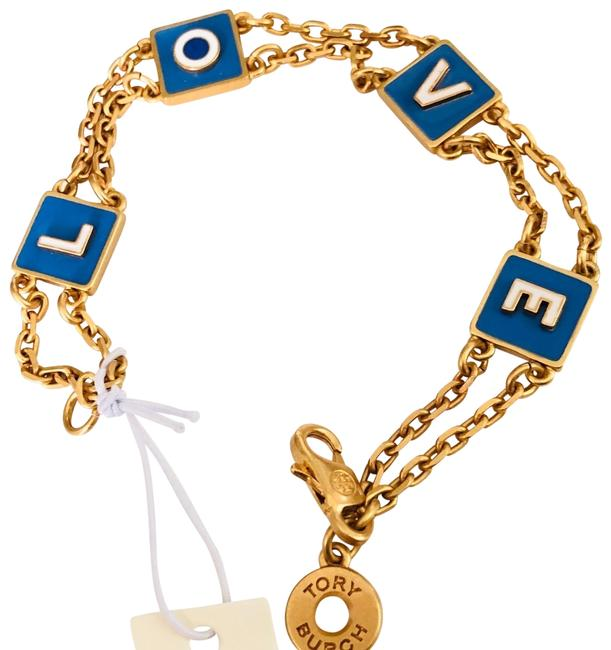 Tory Burch Gold New Blue Enameled Message Chain with Block Letters Bracelet Tory Burch Gold New Blue Enameled Message Chain with Block Letters Bracelet Image 1