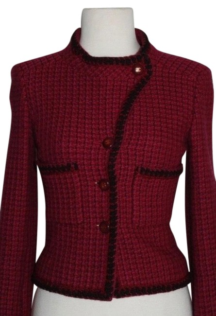 Item - Red/Burgundy Tweed/Wool Jacket Blazer Size Petite 2 (XS)
