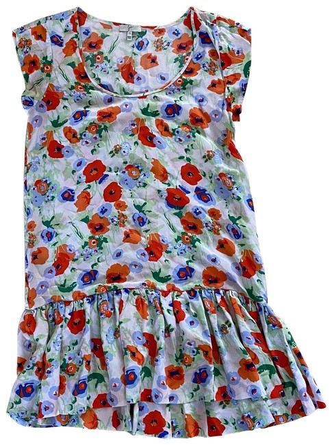 Item - Red and White Floral XS Like New Silk Shift Mid-length Short Casual Dress Size 2 (XS)