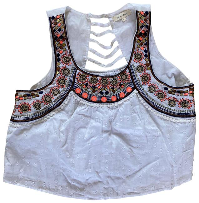 Item - Embroidered Patterned Crop Large White and Pink Top