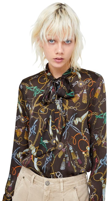 Item - Multicolored Bow Chain Print Flowing Shirt Button-down Top Size 4 (S)