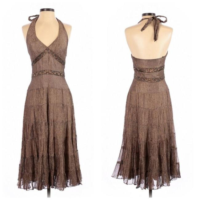 Item - Gold Bronze Formal Event Party Beaded Long Cocktail Dress Size 2 (XS)