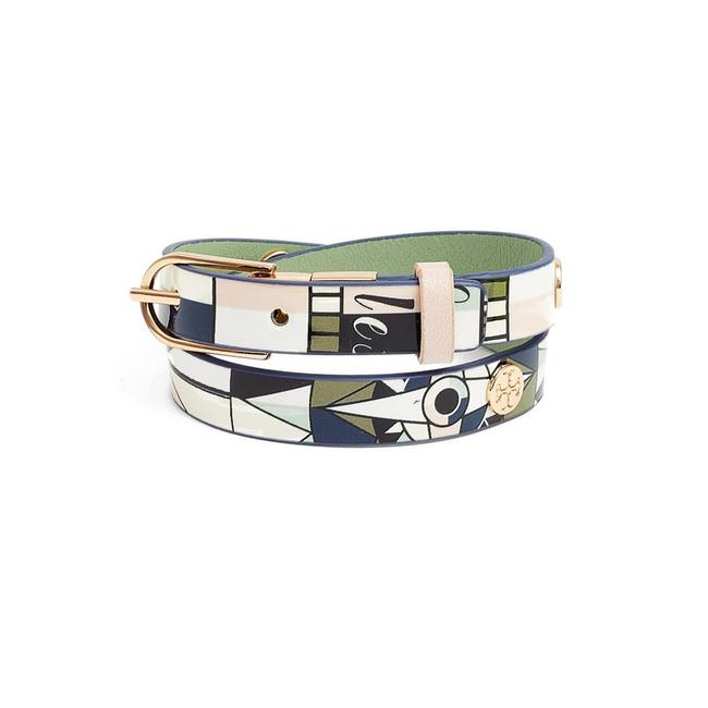 Item - Green Blue Pink White Constellation Reversible Leather Double Wrap Bracelet