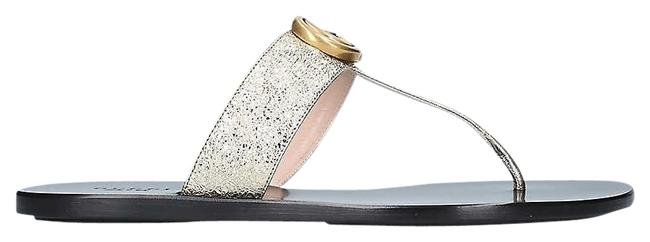 Item - Gold Marmont Sg Gg Flat Leather Sandals Size EU 35 (Approx. US 5) Regular (M, B)