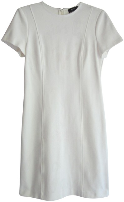 Item - White Vertical Top-stitch Seams Short-sleeve A-line Style No. 1017609r Short Work/Office Dress Size 4 (S)