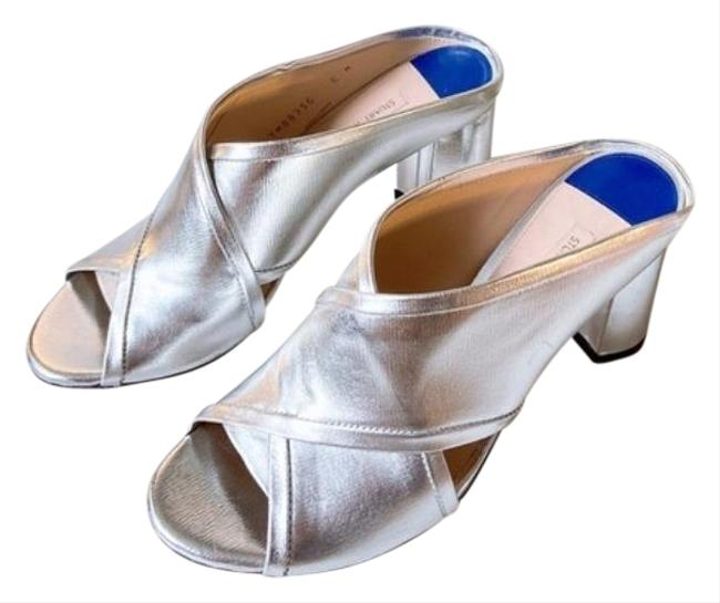 Item - Silver Crisscross Heel Open Toe Sandal Metallic Mules/Slides Size US 6 Regular (M, B)