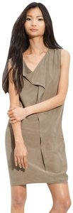 Maggie Ward short dress taupe Sleeveless Leather Trim Cowl Neck on Tradesy