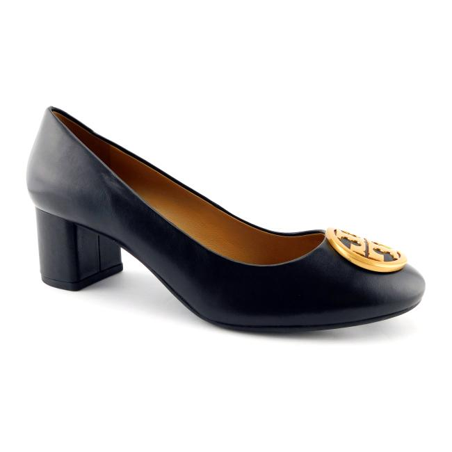 Item - Black Leather Logo Block-heel Pumps Size US 7 Regular (M, B)