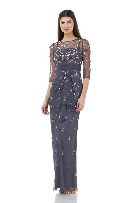 Item - Charcoal Beaded Applique Gown Long Formal Dress Size 14 (L)