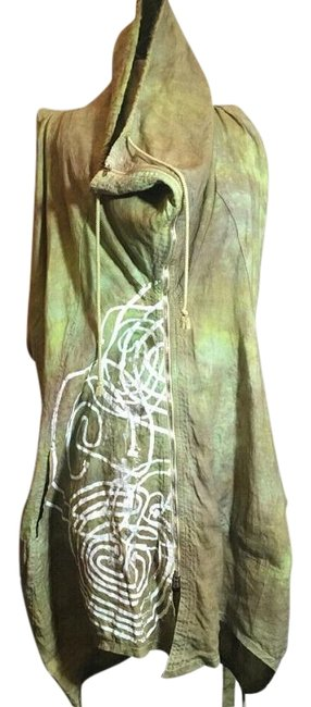 Item - Green Linen Sequin Sleeveless Jacket Vest Size 8 (M)